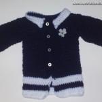 Cardigan in lana Blu e Bianca con bottoncini