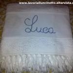 Asciugamano in spugna e frangia ricamata con Twitty
